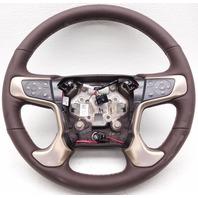 OEM GMC Yukon Denali XL Steering Wheel Cocoa Bronze Leather Small Dent 84053946