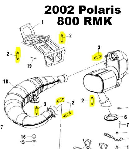 fmpsmpol15 polaris 700 800 xc sp 600 800 rmk snowmobile exhaust spring replacement kit 4 polaris 700 800 xc sp 600 800 rmk snowmobile exhaust spring