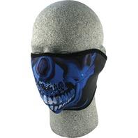 ZANheadgear Neoprene Half Mask Blue Chrome Skull - WNFM024H