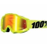 100% Accuri Flo Yellow Motocross Goggles w/Mirror Lens