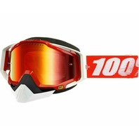 100% Racecraft CE-Aproved Off-Road/Snow Adult Goggles - Red w/Mirror Lens
