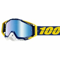 100% Racecraft Goggles - Lindstrom Yellow w/Mirror Blue Lens