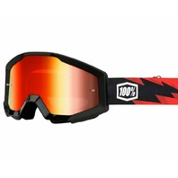 100% Strata CE-Aproved Off-Road Adult Goggles - Slash Black w/Mirror Red Lens