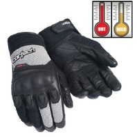 Cortech HDX 3 Silver/Black Leather & Neoprene Motorcycle Gloves - Men's XS-3XL