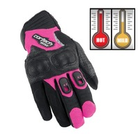 Cortech HDX 3 Pink Leather/Neoprene Motorcycle Gloves - Women's Small-Large