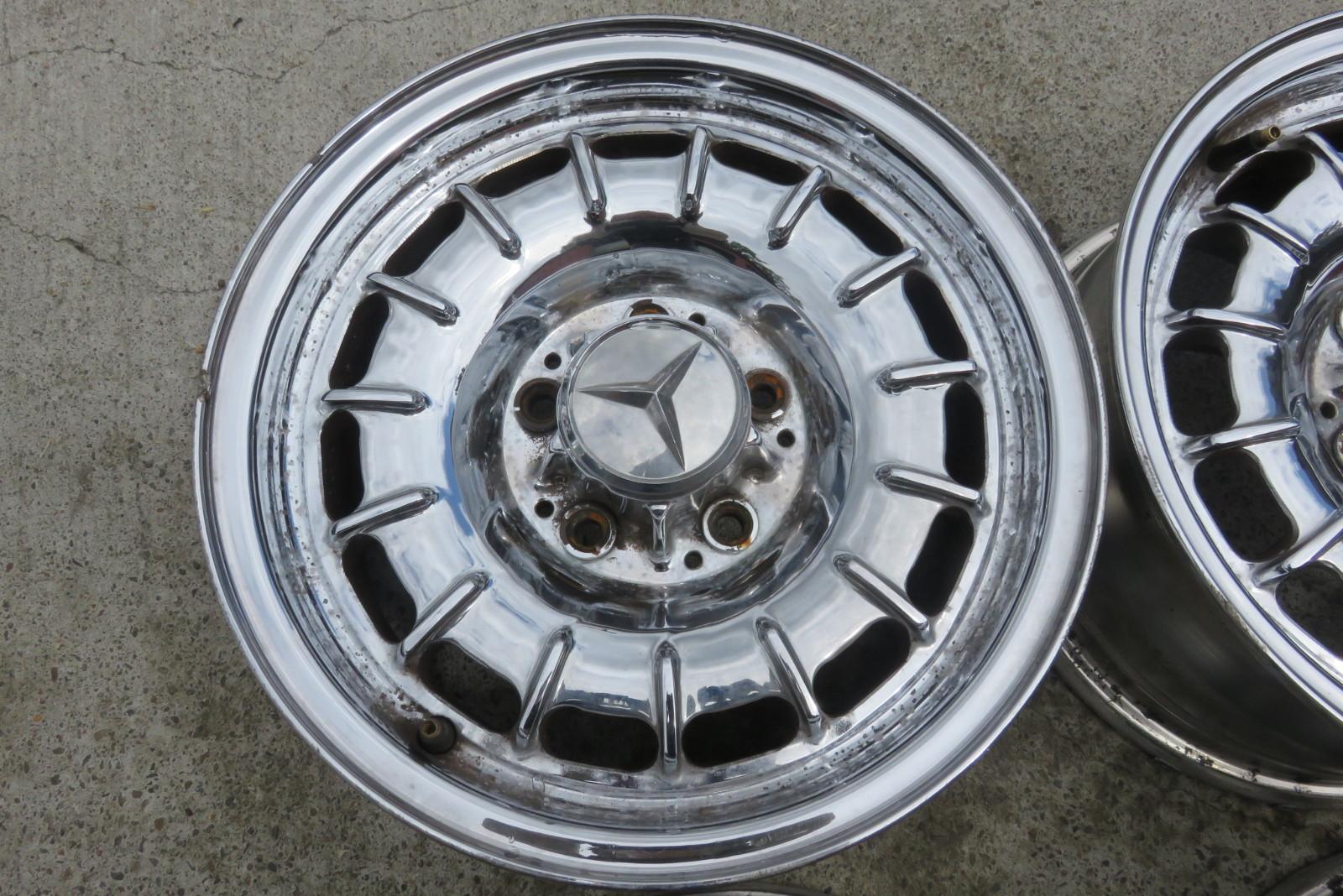 "Mercedes Benz Portland >> 85 Mercedes 380SL R107 factory 14"" inch chrome wheels rims set (4) oem 6.5x14 12"