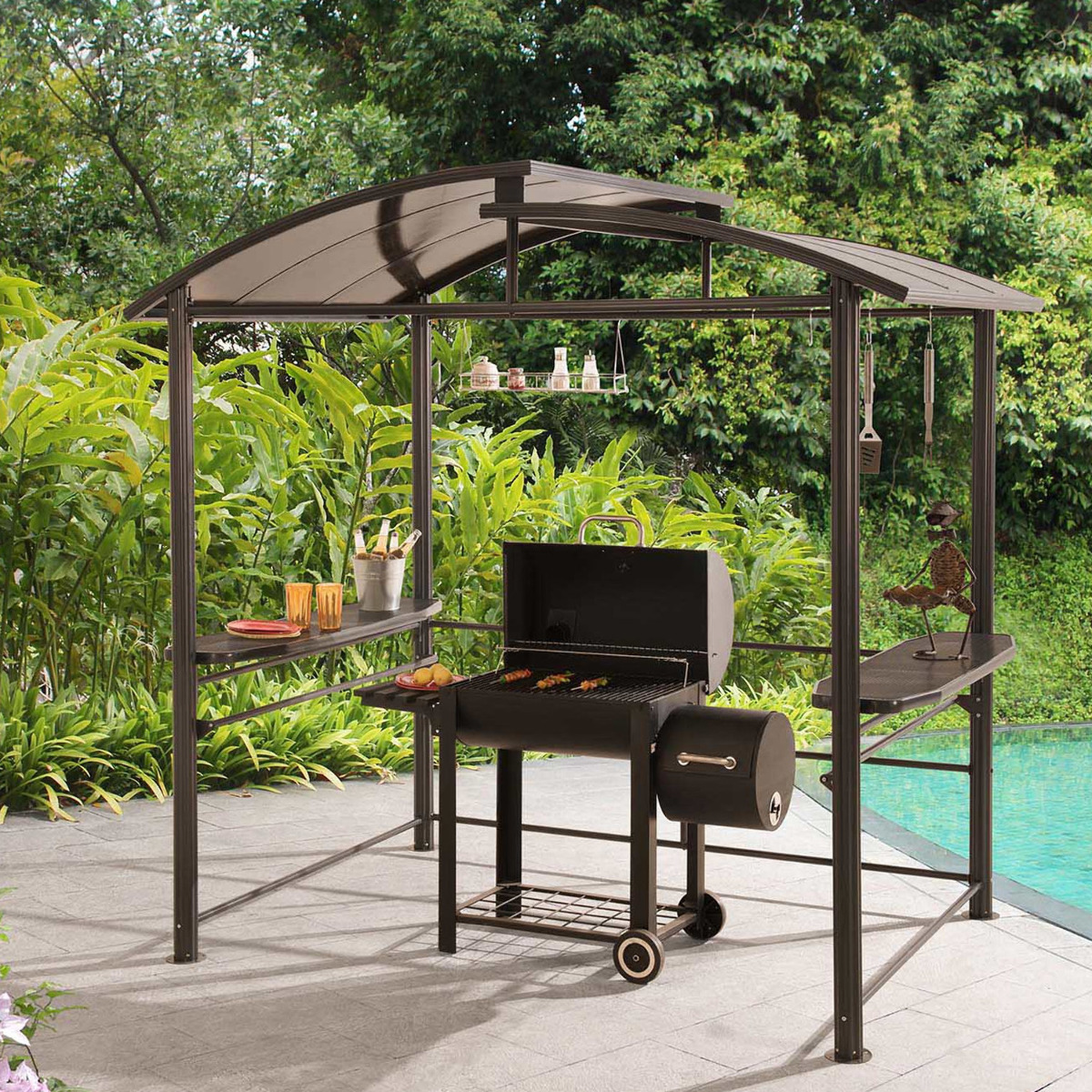 Metal Pergola With Canopy: Denver Steel Grill Gazebo 7.6-ft X 4.9-ft Outdoor Patio