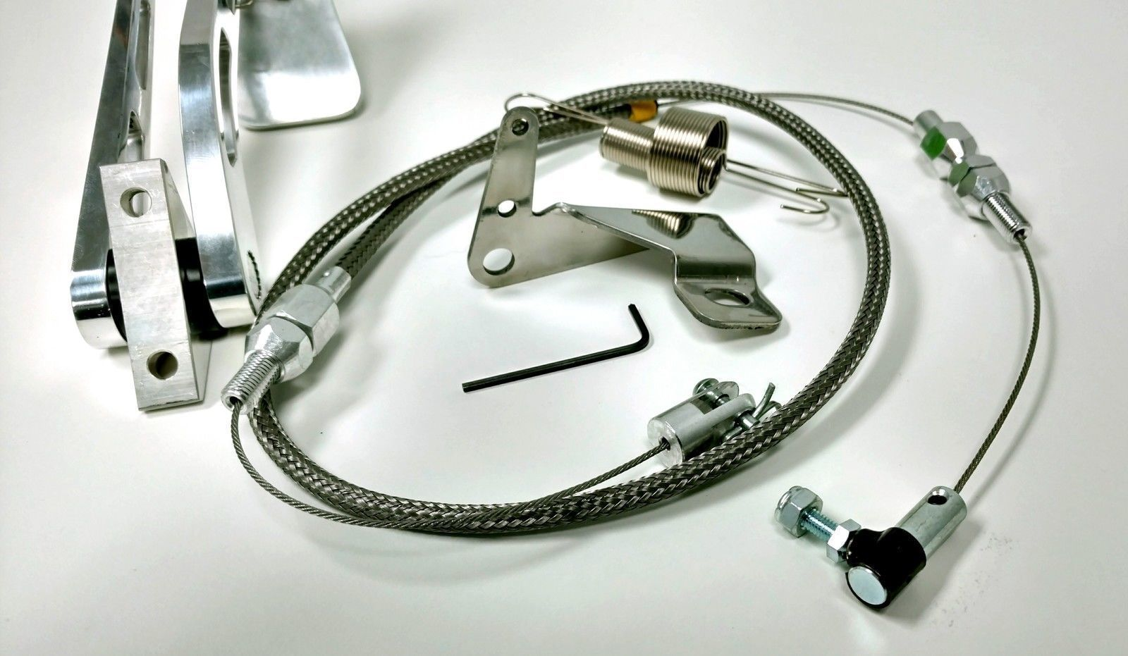 Throttle Cable Making Kit : Aluminum gas pedal quot stainless braided throttle cable
