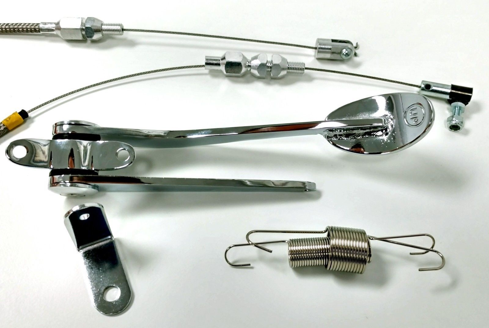 Hot Rod Chrome Spoon Throttle Pedal Kit W 24 Quot Ss Braided
