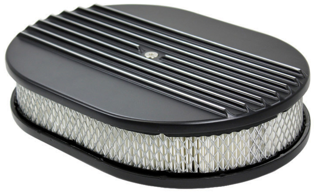 Finned Air Cleaner : Quot half finned black aluminum oval air cleaner w filter