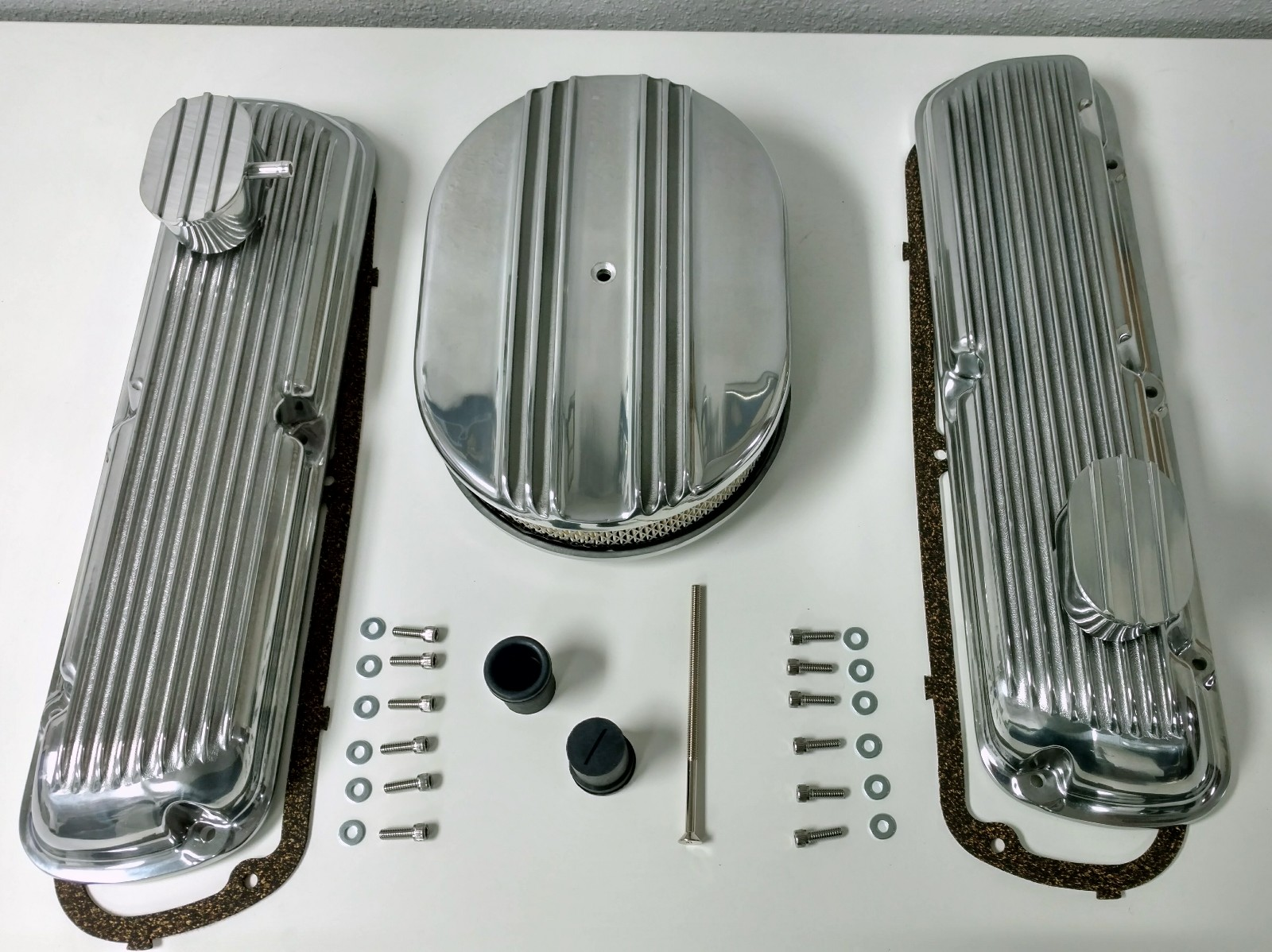 Ford 302 Air Cleaner : Sb ford finned aluminum valve cover w air cleaner kit sbf