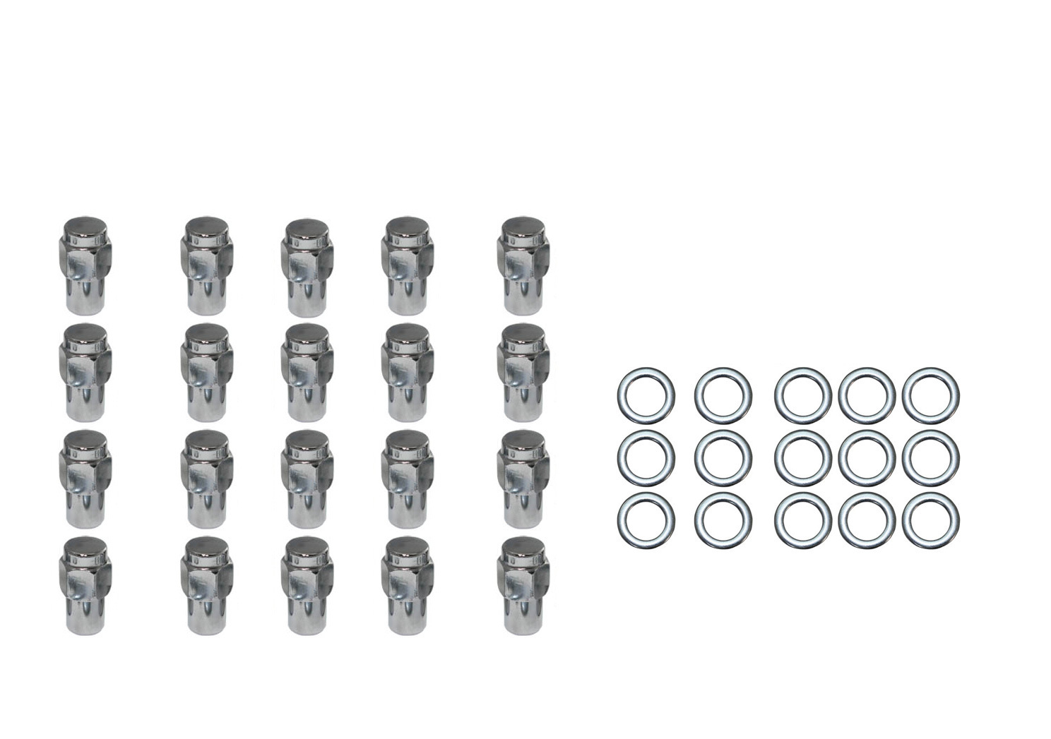 20 pc set chrome steel mag shank lug nuts 1  2 u0026quot  x 20 right