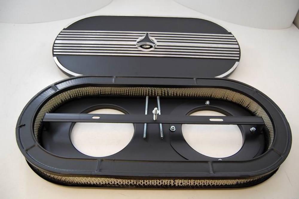 Dual Carburetor Air Cleaner : Quot black finned cobra performance air cleaner dual carb