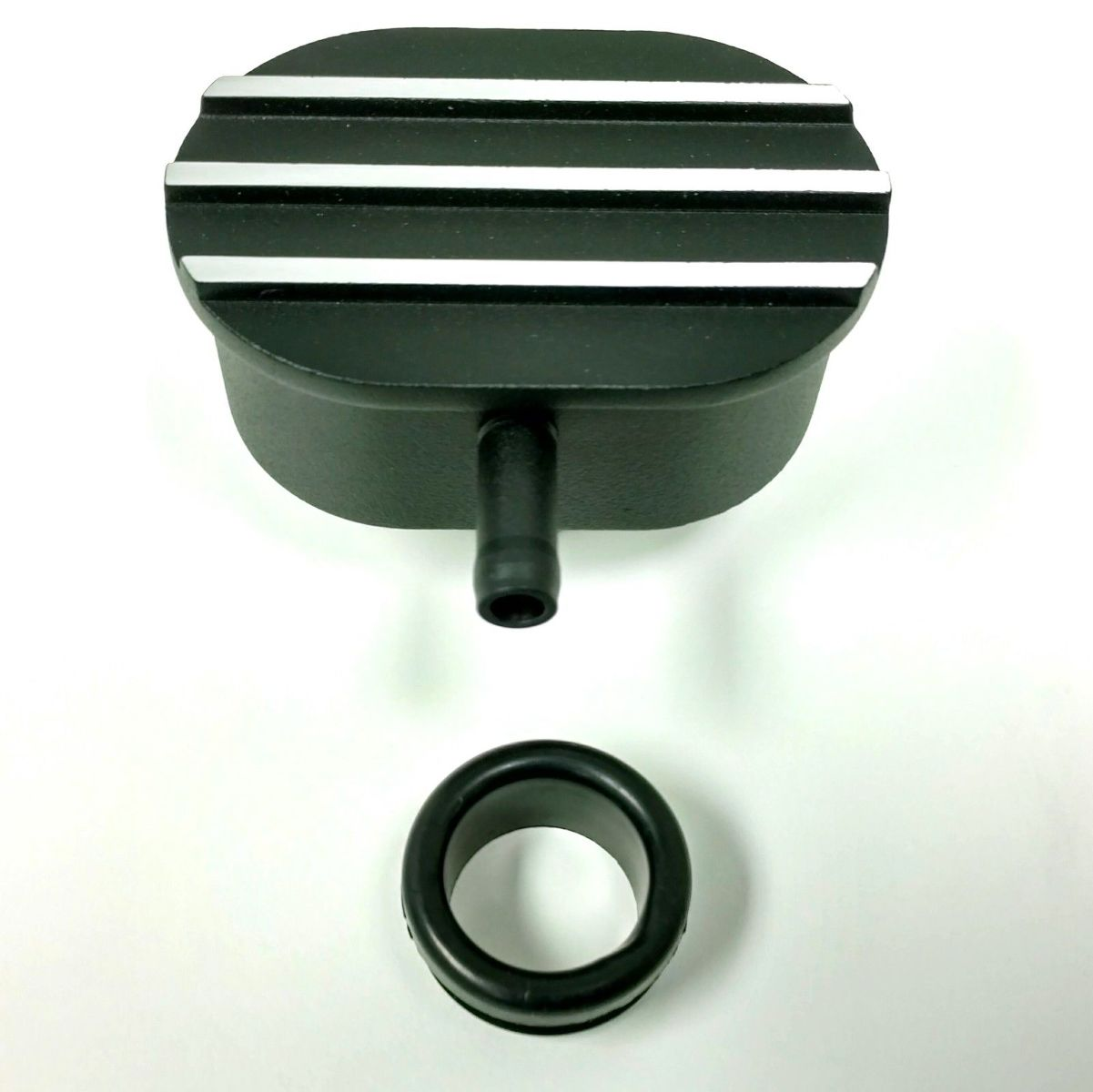 Hot Rod Black Oval W Silver Finned Valve Cover Pcv