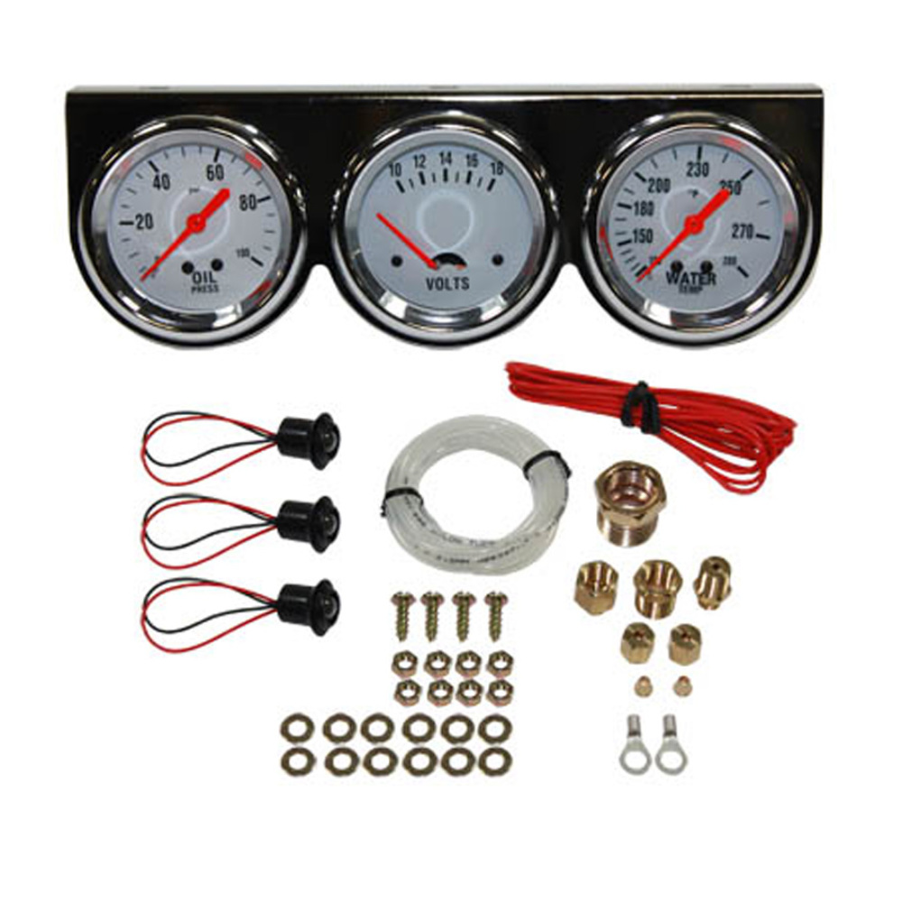 Universal Auto Gauges : Purchase universal quot gauge set chrome bezel water