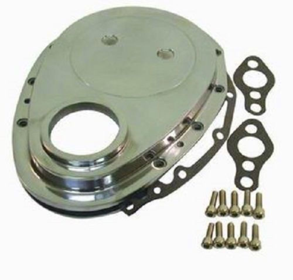 polished aluminum sbc chevy v8 timing chain cover kit