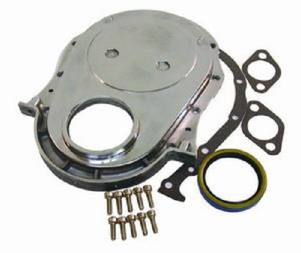 Chevrolet Performance 12562818 Timing Chain Cover: Polished Aluminum BBC Chevy Timing Chain Cover Kit