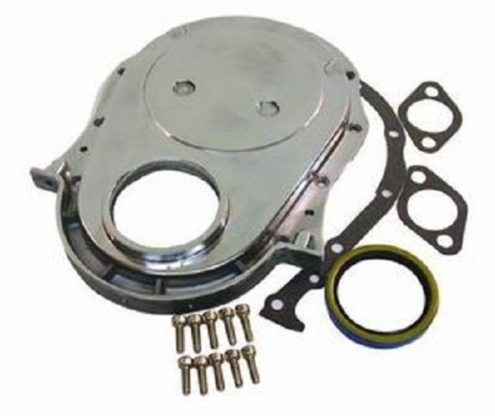 Chevrolet Performance 12562818 Timing Chain Cover: Chrome Aluminum BBC Chevy Timing Chain Cover Kit