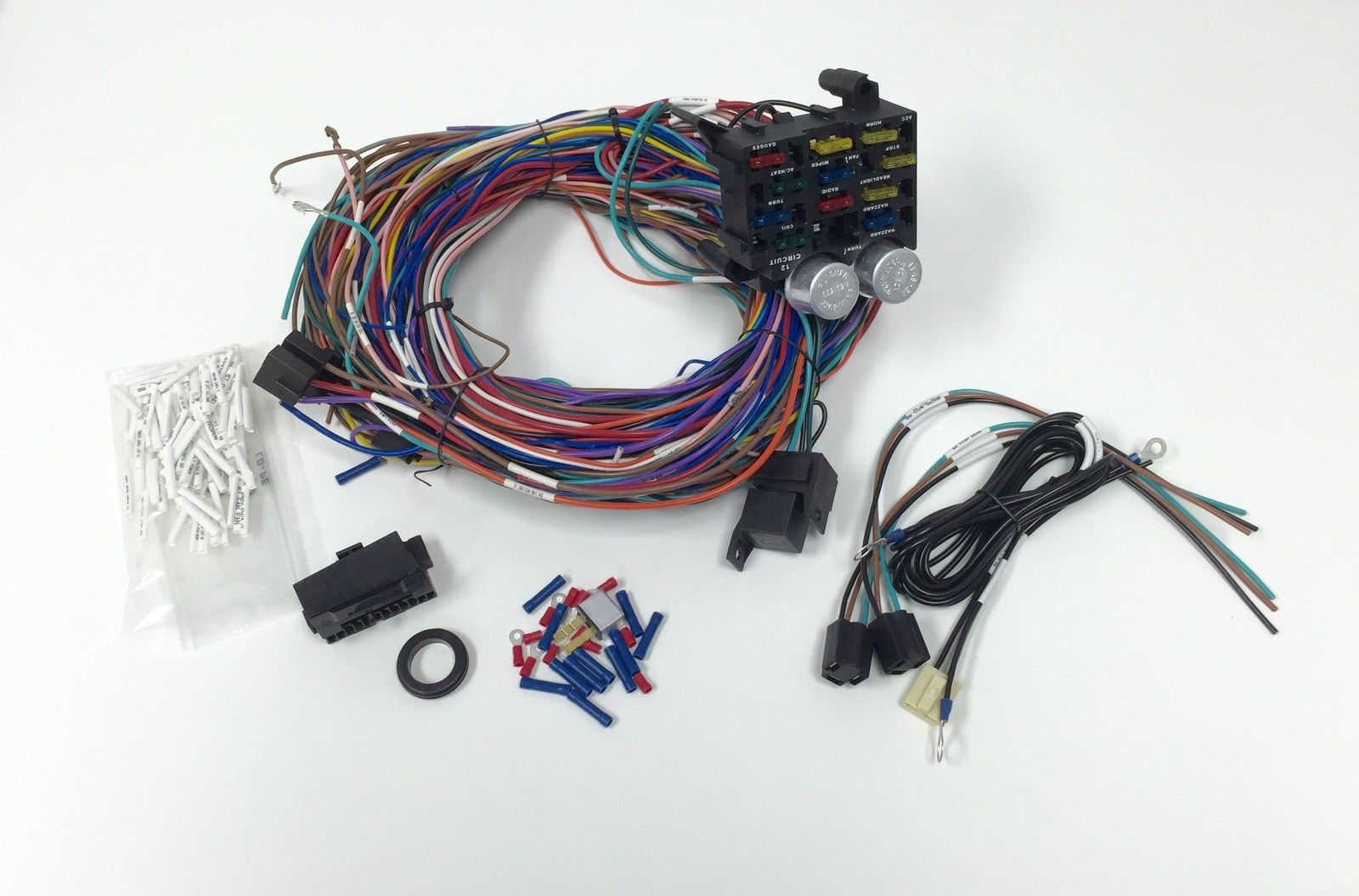Universal 12v 24 Circuit 12 Fuse Wiring Harness Wire Kit