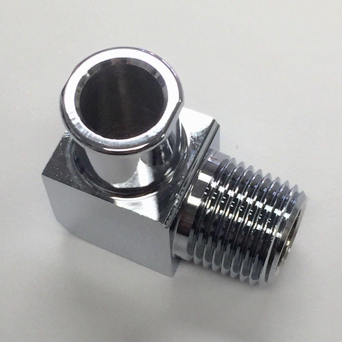 Hot Rod Chrome Aluminum 90 Deg Heater Hose Fitting 3/4