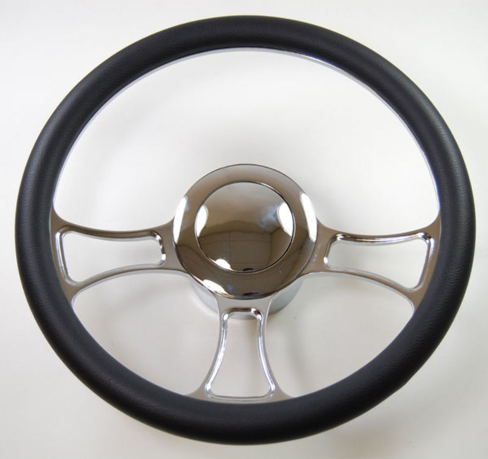 Hot Rod 14 quot Chrome Billet quot Trinity quot Style Steering Wheel