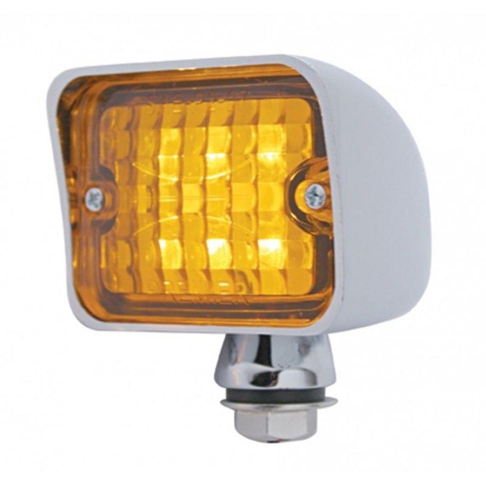 6 amber led large rectangular chrome rod light w amber lens 12v hot rat rod pirate mfg. Black Bedroom Furniture Sets. Home Design Ideas