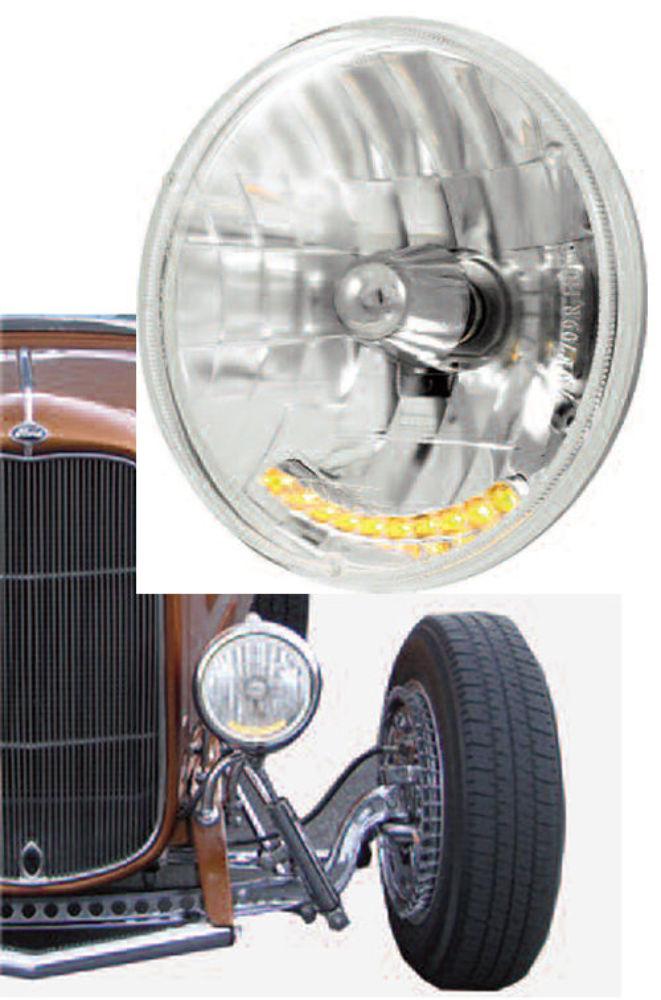 Headlight Kit Street Rods : Quot crystal headlight with led auxiliary light street rod