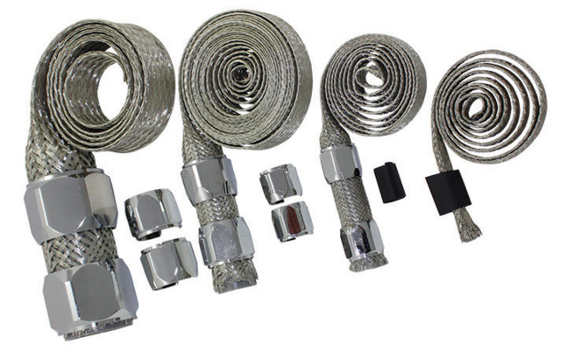 Chrome Stainless Braided Line : Stainless braided engine vacuum fuel heater oil line hose