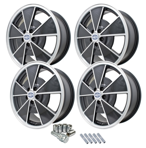 9736 EMPI BRM STYLE WHEEL PACKAGE, NEW VW BEETLE, 4PC SET, GLOSS BLACK, 17 X 7