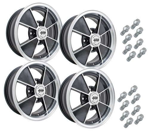 9735 EMPI BRM STYLE WHEEL PACKAGE, 4-LUG VW BUG BEETLE, 4PC SET, GLOSS BLACK, 15 X 5.5