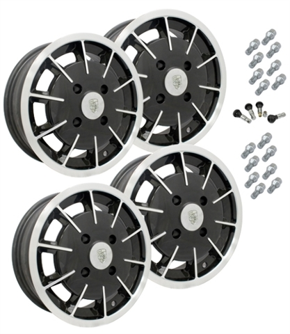 10-1080 EMPI GASSER STYLE WHEEL PACKAGE, 4-LUG VW BUG, GHIA, TYPE 3,  4PC SET, GLOSS BLACK, 15 X 5-1/2, 4 ON 130MM