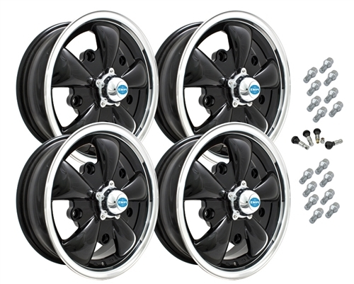 9690 EMPI GT-5 STYLE WHEEL PACKAGE, 5-LUG VW BUG, BUS, GHIA, TYPE 3,  4PC SET, GLOSS BLACK, 15 X 5-1/2, 5 ON 205MM