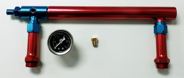 Aluminum Holley 4150 Double Pumper Fuel Log Red Blue