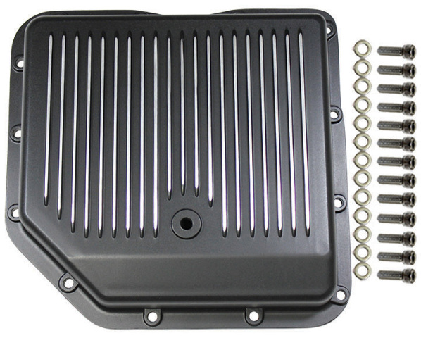 Chevy Black Finned Aluminum Turbo 350 Transmission Pan CBC TH-350 TH350 Trans