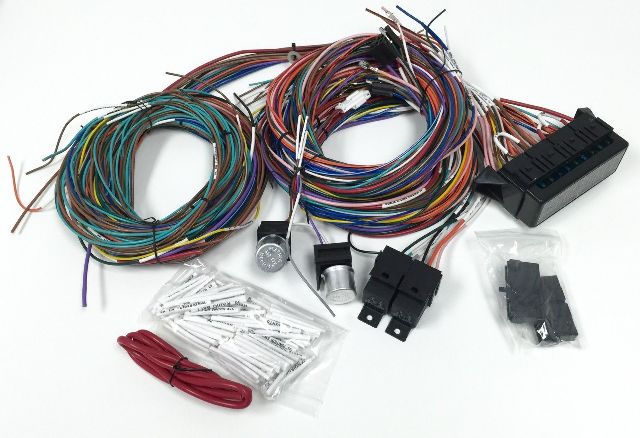 ss1002 complete universal 12v 24 circuit 20 fuse wiring harness wire kit v8 rat hot rod 428061663 universal wiring harness hot rod diagram wiring diagrams for diy VW Wiring Harness Kits at reclaimingppi.co