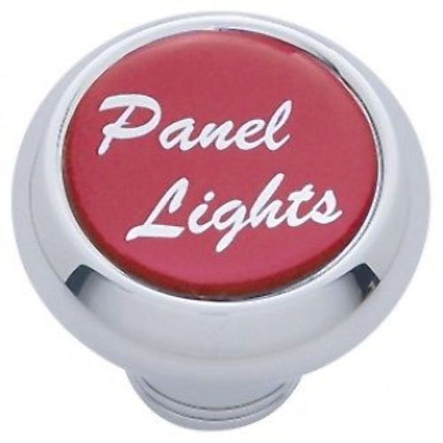"Chrome Aluminum ""panel lights"" Dash Knob With Red Aluminum Sticker"