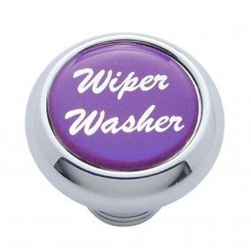 "Chrome Aluminum ""Wiper/Washer"" Dash Knob With Purple Aluminum Sticker"