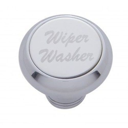 "Chrome Aluminum ""Wiper/Washer"" Dash Knob With Stainless Steel Plaque"
