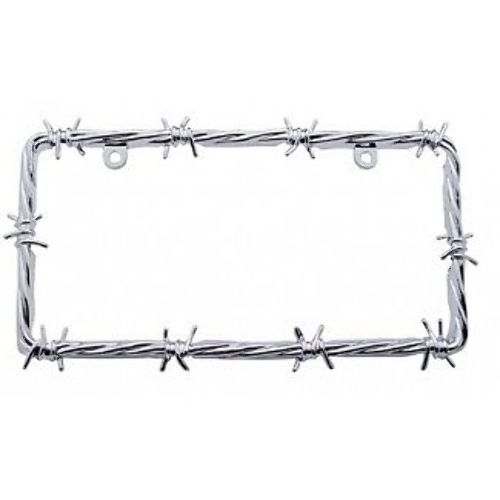 Chrome Steel Barbwire Design Standard 2 Hole License Plate Frame