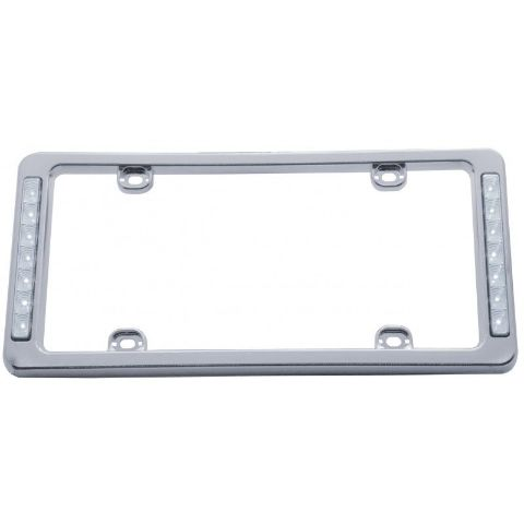 Chrome Plastic White LED Reverse Lighted License Plate Frame 13-1/2 x 6-5/16