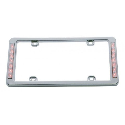 Chrome Plastic Red LED Reverse Lighted License Plate Frame 13-1/2 x 6-5/16