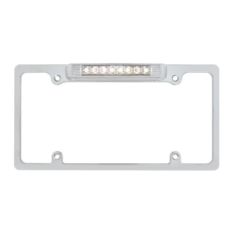 Chrome Deluxe LED License Plate Frame - White LED Third Light