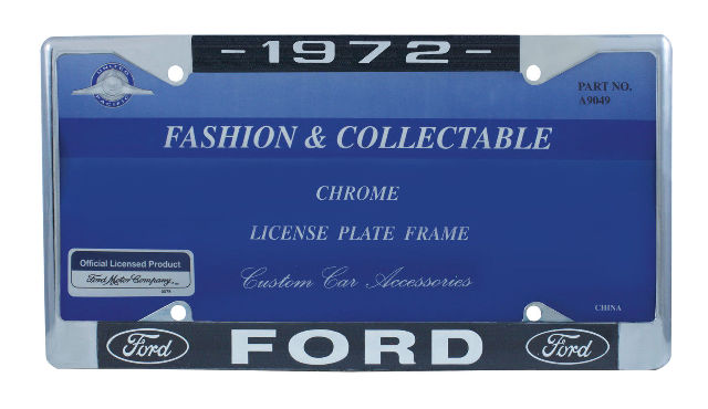 1972 Ford License Plate Frame Chrome Finish with Blue and White Script