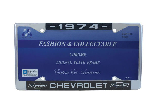 1974 Chevy Chrome License Plate Frame with Chevrolet Bowtie Blue / White Script