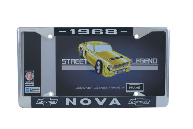 1968 Chevy Nova Chrome License Plate Frame with Blue and White Script