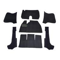VW BUG CONVERTIBLE CARPET KIT,58-70 7-PIECE W/O FOOTREST BLACK 3981
