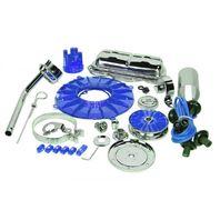EMPI Engine Trim Super Chrome / BLUE Dress Up Kit VW Bug  Buggy VW Beetle 8654