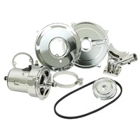 VW BUG BUGGY 12V /75AMP CHROME ALTERNATOR KIT WITH ALL CHROME COMPONENTS  9451