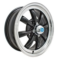 EMPI GT-8-Spoke EMPI  5.5 X 15 GLOSS BLACK  wheel VW bug Type 1 2 3 ,4-130