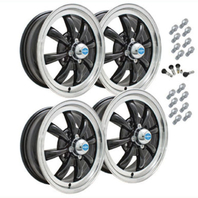 VW BUG GHIA EMPI GT-8  WHEEL SET 4 WITH LUGS 5.5 X 15 GLOSS BLACK POL/LIP 4-130
